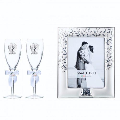 Valenti ezüstözött képkeret-pohár szett