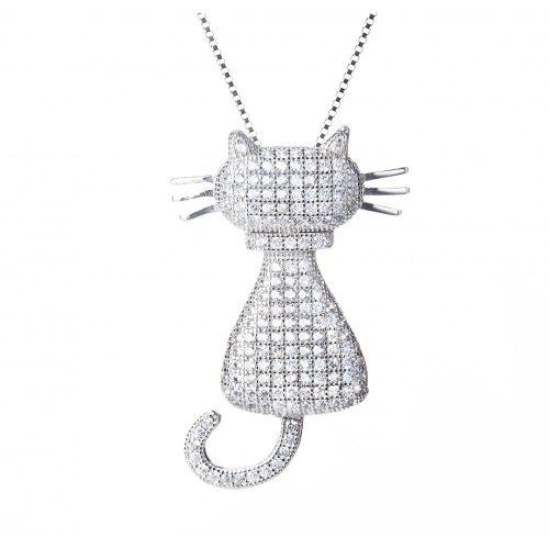Fehér macska medál + lánc