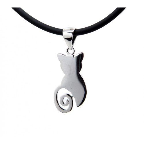 Ezüst macska medál+ kaucsuk lánc
