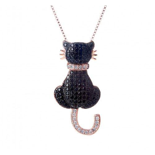 Fekete macska  rozé medál + lánc