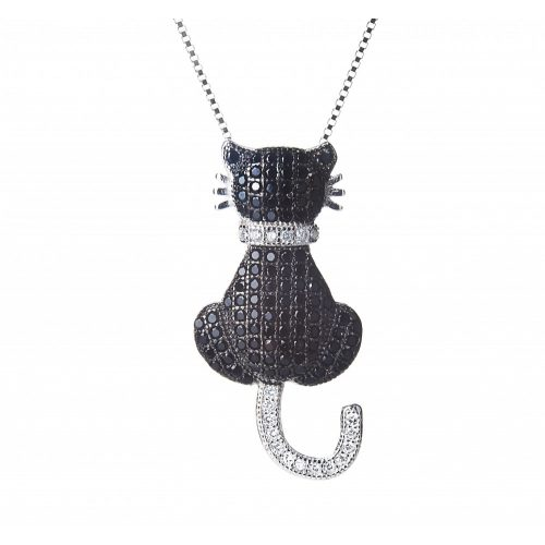 Fekete macska ezüst medál + lánc