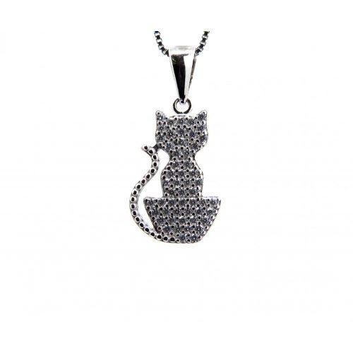 Ezüst macska medál + lánc