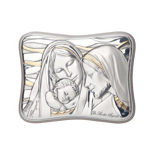 DE-SANTIS Ezüstözött-Fa-vallási ikon